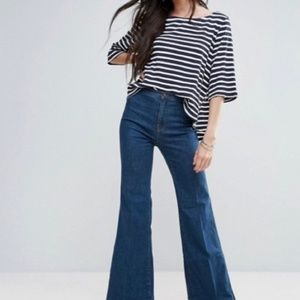 FREE PEOPLE Cannes Striped Tee S